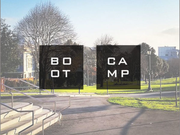 The SF Squared Boot Camp logo superimposed over a photo of Duboce Park